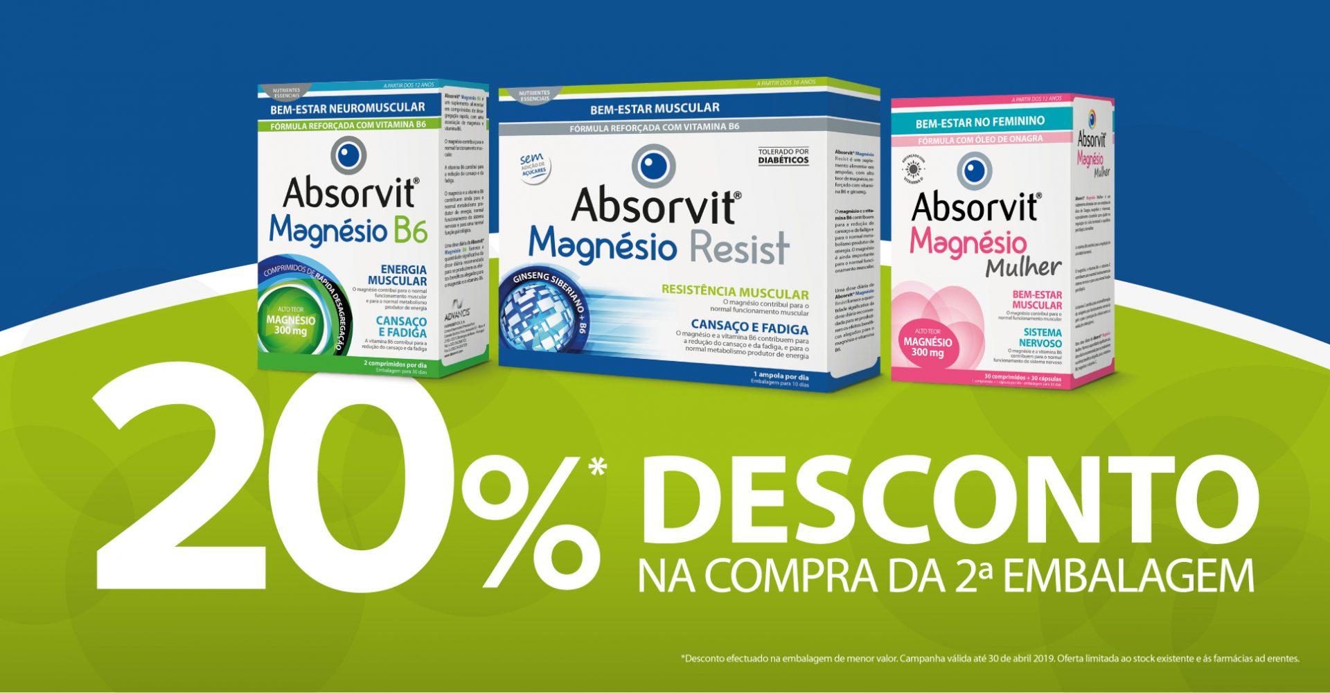 20%Desconto Absorvit Magnésio